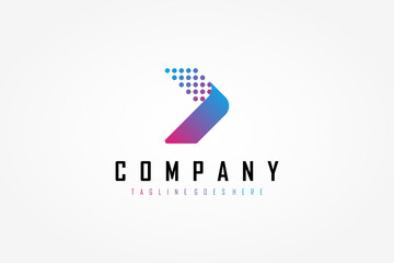 Right Arrow Logo. Blue Purple Gradient Geometric Arrow Shape with Pixel Dots Halftone Origami Style. Usable for Business and Technology Logos. Flat Vector Logo Design Template Element.