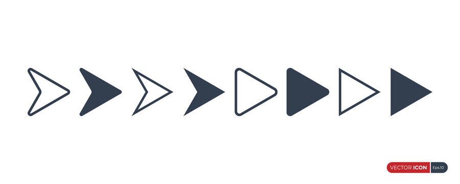 Set of Arrow Icons. Fill and Outline Arrow Heads Geometric Shapes isolated on White Background. Flat Vector Icon Design Template Element.