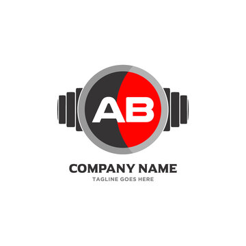 AB Letter Logo Design Icon fitness and music Vector Symbol.
