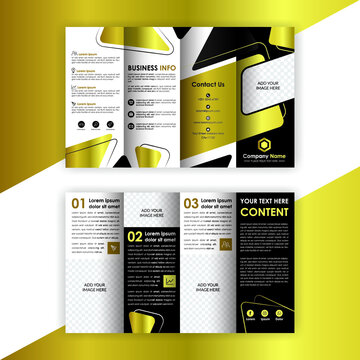 Accordion Fold Brochure, Four Fold Golden Brochure, Concertina Fold,  Eight Pages Four Panel Leaflet Vector Template