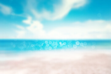 Wall Mural - Blur tropical sand sea sky and beach with bokeh sun light and sky with clouds  summer vacation background concept