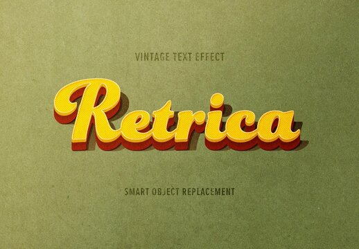 Vintage Retro Style Text Effect Mockup