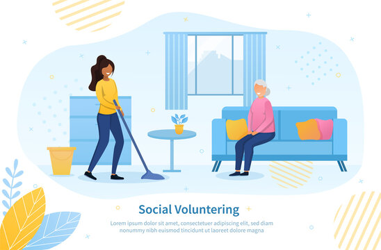 Social volunteering concept for the elderly with a young black woman mopping the floor for a senior woman in her house, colored vector illustration