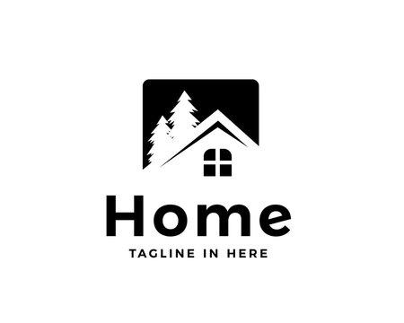 Elegant house pine garden logo design inspiration