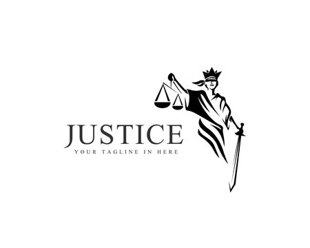 Women blindfolded take scale and sword lawyer logo design inspiration
