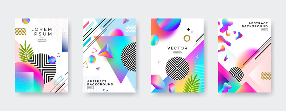 Set of Vector abstract cover design with multicolored gradient, geometric, linear, stipple and fluid shapes.
