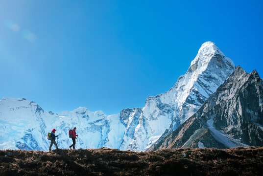 Hiking in mountains. Traveler with backpack in Nepal