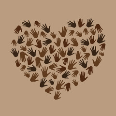 Many hands in heart shape on brown background. Black lives matter. New movement on the rise, interracial community unity. Protests against racism in America. Modern vector in flat style
