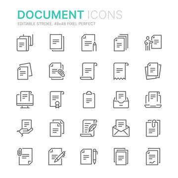 Collection of documents related line icons. 48x48 Pixel Perfect. Editable stroke