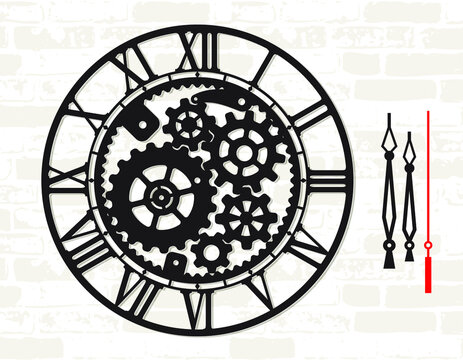 Wall clock template with mechanical moving gear skeleton. Digital cut home decor. Laser metal wood cutting. Steampunk stencil. Simple clock face with numerals and arrow. Vector watch. Silhouette dial