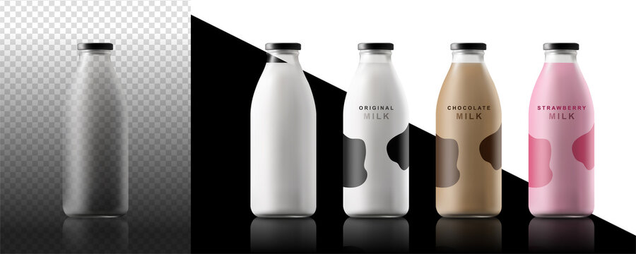 Realistic milk bottles. Blank glass bottle drink water juice packaging empty mock up container vector template