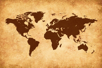 Brown World Map on yellow grunge background
