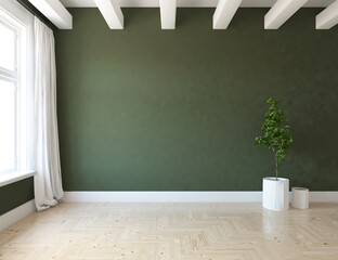 Foto auf AluDibond Khaki Minimalist empty room interior with vases on a wooden floor, decor on a large wall, white landscape in window. Background interior. Home nordic interior. 3D illustration