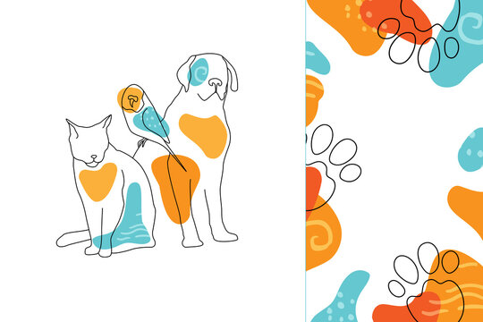 Dog, cat and parrot in modern minimalistic style. Vector trendy linear art. Veterinary or pet friendly conceptual illustration.