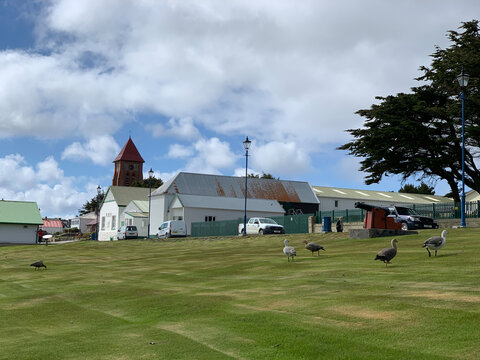 """The town called """"Stanley"""" on the Falkland Islands. Public park and church"""