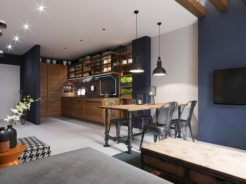 Modern kitchen with dark blue walls and wooden light furniture and white floor in hipster style.