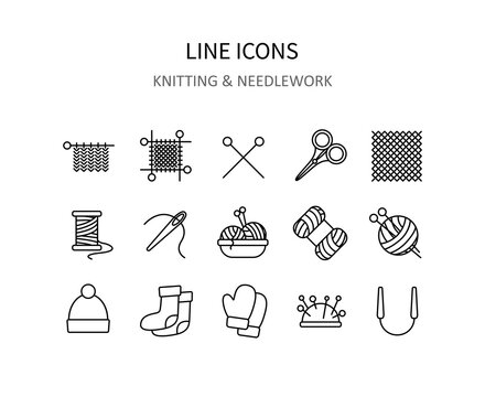 Knitting icons. Needlework symbols for apps or web sites. Vector