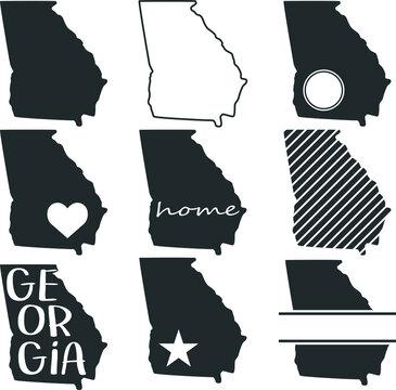 Georgia USA Map. Symbol Icon Set. Flat Vector Art Design. Clip Art Logo Collection.