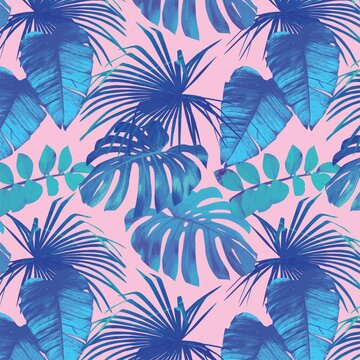 Beautiful blue tree leaves on a pink background - perfect for wallpaper
