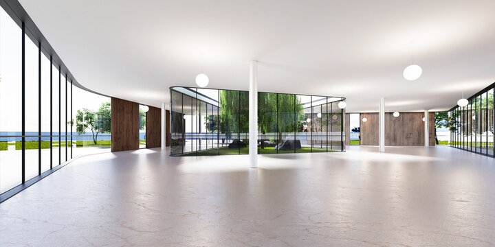 Spacious bright spatial rooms with lots of greenery behind the glass. Public premises for office, gallery, exhibition.