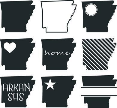 Arkansas USA Map. Symbol Icon Set. Flat Vector Art Design. Clip Art Logo Collection