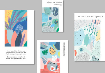 Set of Card Layouts with Abstract Decorations
