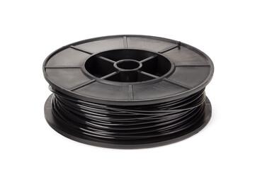 Fototapeta Black filament 3d printer isolated on white background obraz