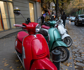 bilisi, Georgia, 04 Nov 2018: Colorful moped scooter parking