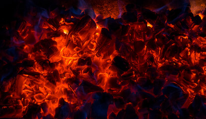 Poster Firewood texture Burning coal, soft focus. Textures, background, abstract