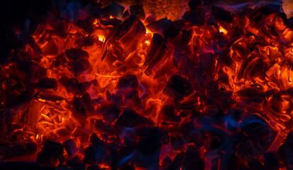 Papiers peints Texture de bois de chauffage Burning coal, soft focus. Textures, background, abstract