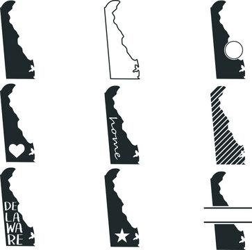 Delaware USA Map. Symbol Icon Set. Flat Vector Art Design. Clip Art Logo Collection.