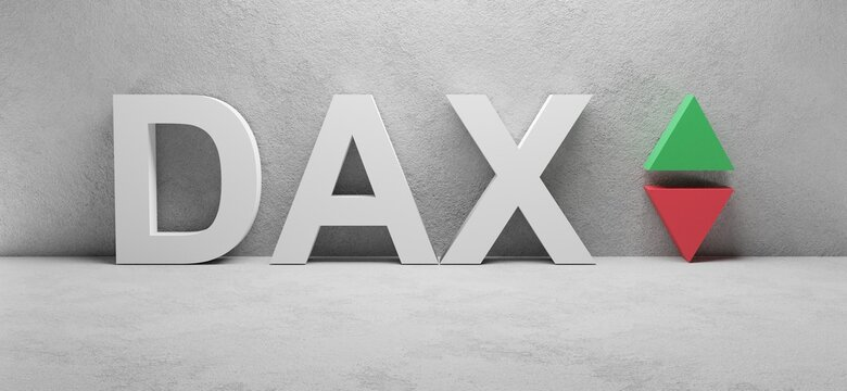 cgi render illustration of the white word DAX infront of a white concrete wall, up and down arrows