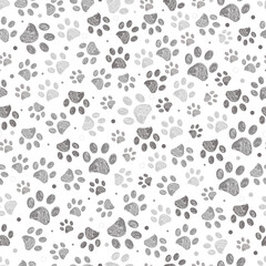 Fototapeta Doodle grey paw print seamless fabric design repeated pattern with grey background obraz