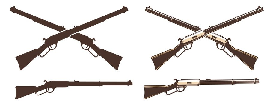 Winchester rifle retro icon. Wild west vintage weapon sign. Vector western illustration