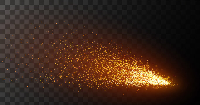 Fire sparks on transparent background. Iron cutting or metal welding.