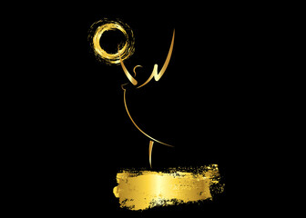 gold angel sign, golden stars prize concept vector isolated on black background