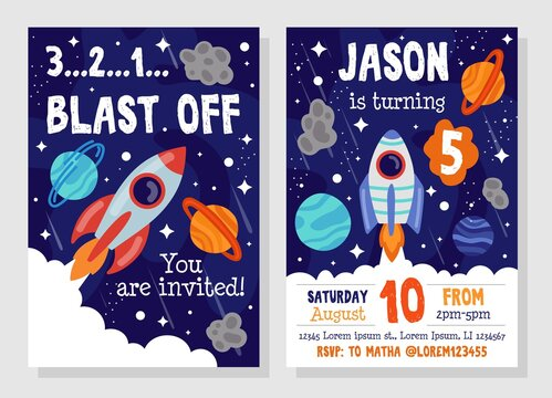 Bright cosmic space party invitation template vector illustration. Blast off flat style. Costume fun party. You invited. Happy birthday concept. Isolated on grey background