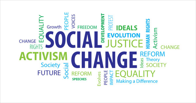 Social Change Word Cloud on a White Background
