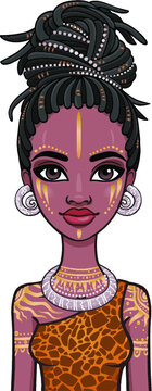 Animation portrait of the young beautiful African woman  in a dreadlocks and body art. Color drawing. Vector illustration isolated on a white background. Print, poster, t-shirt, card.