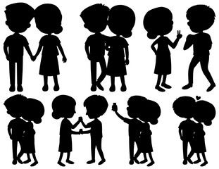 Set of silhouette couple dancing on white background