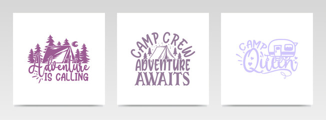 Camping quotes letter typography set illustration.