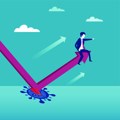 Business recovery vector concept: Businessman sitting on a moving upward chart after rebound
