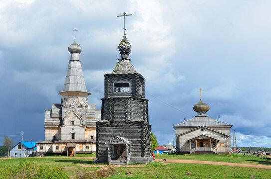 Orthodox wooden chirches in Varzuga, Russia, Oblast Murmansk, Kola Peninsula