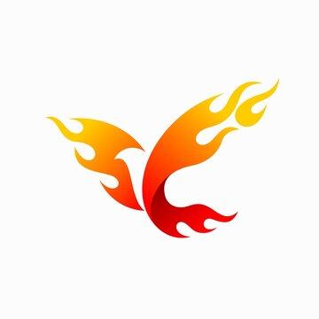 condor fire logo, bird fire logo design