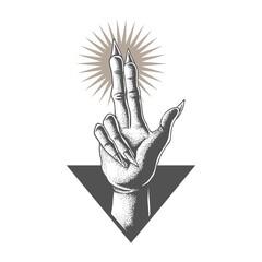 Hand in satanic vector illustration