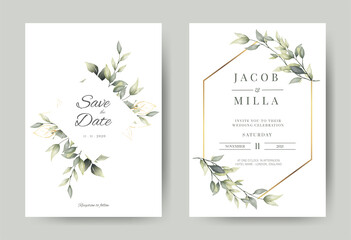 Fototapeta wedding invitation card with greenery watercolor branch leaf and gold frame in minimalist style obraz