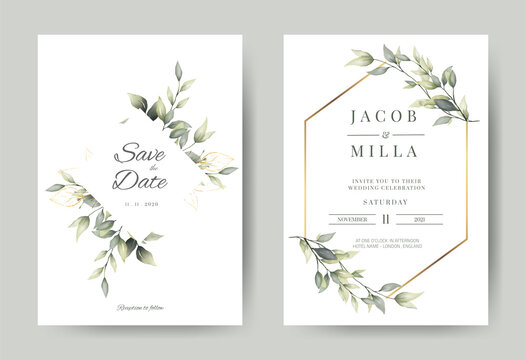 wedding invitation card with greenery watercolor branch leaf and gold frame in minimalist style