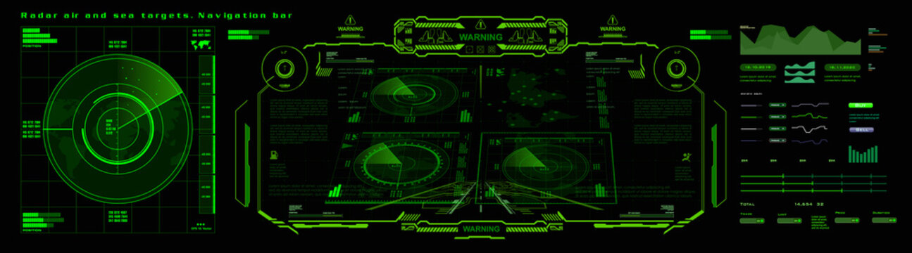 Radar air and sea targets. Navigation bar for finding and destroying military targets. Futuristic radar screen. Search for goal. View terrain from the satellite. Radar Interface with HUD Elements