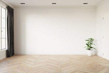 Empty room with white wall, window, grey curtain and green plant in a white pot on wooden floor. 3d illustration.