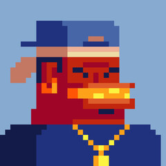 Gangster man pixel art style character, african american gangsta rap stars. Avatar, portrait and profile picture. Design of 80s. Game assets. 8-bit. Isolated vector illustration.